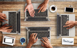 Business man hands using a laptop Stock Photography