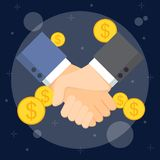 Business man handshake. And dollar coins. Partnership, effective and beneficial cooperation, deal making, agreement concept Royalty Free Stock Photography