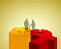 Business man handshake standing on money sign Royalty Free Stock Images