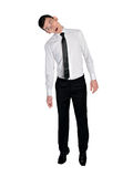 Business man hang on something. Isolated business man hang on something Royalty Free Stock Photos