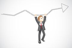 Business Man hanging from Arrow Royalty Free Stock Image