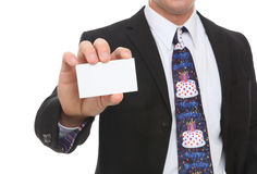 Business Man with Happy Birthday Tie Royalty Free Stock Photos