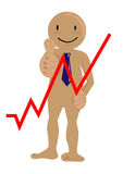 Business man happy graph up Stock Photography