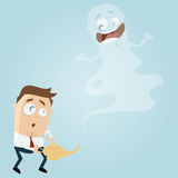 Business man with happy jinn. Illustration of a business man with happy jinn vector illustration