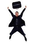 Business man happy joyful jumping silhouette Stock Photo