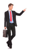 Business man happy smile pointing finger Stock Image