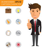 Business man happy with thumbs up and icons business. cartoon ch Stock Photo