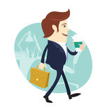 Business man Happy worker walking holding coffee and briefcase Stock Images