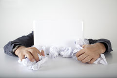 Business man hard working in the papers royalty free stock image