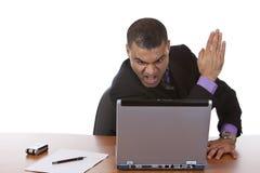 Business man has computer crash Stock Photo
