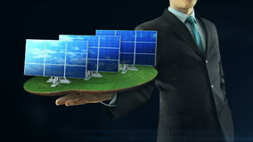 Business man has on hand green energy concept build animation solar panel black vector illustration