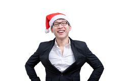Business man has happy and smiling with Christmas festival theme stock image