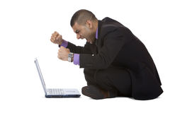 Business man has stress with computer Stock Photo