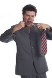 Business Man hates tie (the series) stock photo