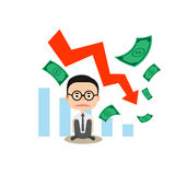 Business man have a headache, graph arrow down.  Stock Photography