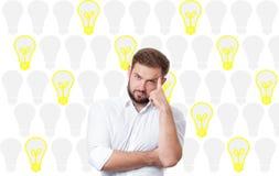 Business man having an bright idea light bulb concept. Stock Photos