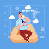 Business Man Having Lunch During Coffee Break In Office Comfort Zone. Flat Vector Illustration Stock Image