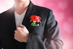 Business man having a red rose on pink valentine concept. Business man having a red rose on pink valentine concept Stock Photo