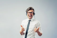 Business man with head-set Royalty Free Stock Photo