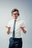 Business man with head-set Royalty Free Stock Images