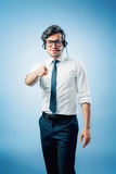 Business man with head-set Royalty Free Stock Photography