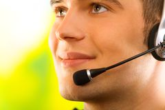 Business man in headset stock photography