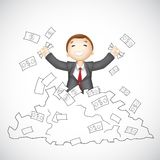 Business Man in heap of Dollar. Illustration of 3d business man in vector showing happy gesture Stock Photography