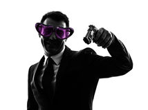 Business man heart shaped glasses aiming silhouette Royalty Free Stock Images