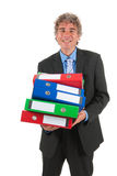 Business man with heavy archive Stock Image