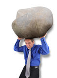 Business Man with Heavy Stress Rock. A business man is holding up a big heavy rock to represent stress or worry on a white isolated background Stock Images