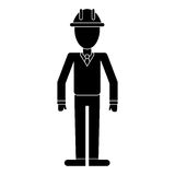 Business man helmet contruction manager pictogram. Vector illustration eps 10 Stock Photo