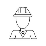 Business man helmet contruction manager thin line Royalty Free Stock Photography