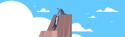 Business Man Helping Colleague To Climb On Mountain Top Teamwork And Support Concept Horizontal Banner. Flat Vector Illustration Royalty Free Stock Photography