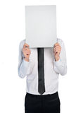Business man hide face Stock Photo