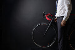 Business man and his bicycle, concept bike go to work Royalty Free Stock Images