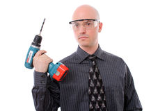 Business man and his drill stock image