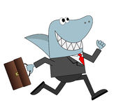 Business man with his head sharks runs with the briefcase in han Royalty Free Stock Photos