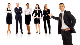 Business man and his team. Businessman presenting his team isolated over a white background stock images