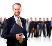 Business man and his team. Isolated over a white background stock photos