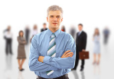 Business man and his team. Isolated over a white background royalty free stock photography
