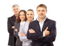Business man and his team. Isolated over a white background stock photo