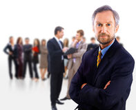 Business man and his team isolated over Royalty Free Stock Photo