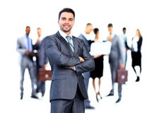 Business man and his team. Isolated over a white background royalty free stock images
