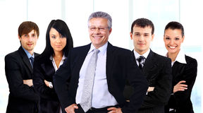 Business man and his team. Business men and his team over a white background royalty free stock images