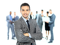 Business man and his team  over a white background Royalty Free Stock Images