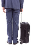 Business man with his trolley bag. On white Royalty Free Stock Photography