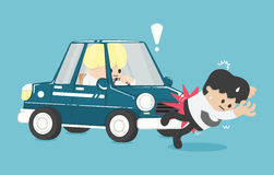 Business man hit by a car Flat Vector Illustration. Eps.10 Royalty Free Stock Photos