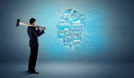 Free Business Man Hitting Brick Wall With Huge Hammer Royalty Free Stock Photos - 62903778