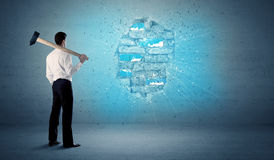 Free Business Man Hitting Brick Wall With Huge Hammer Royalty Free Stock Image - 76612106