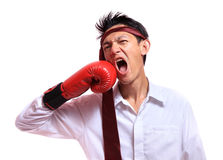 Business man hitting himself with a red boxing glove in the face.  Stock Images